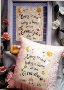 Grandma and Grandpa Pillow or Framed Stitchery
