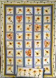 Pretty Maids In a Row Quilt and Pillow