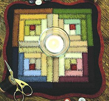Log Cabin Block Candle Mat